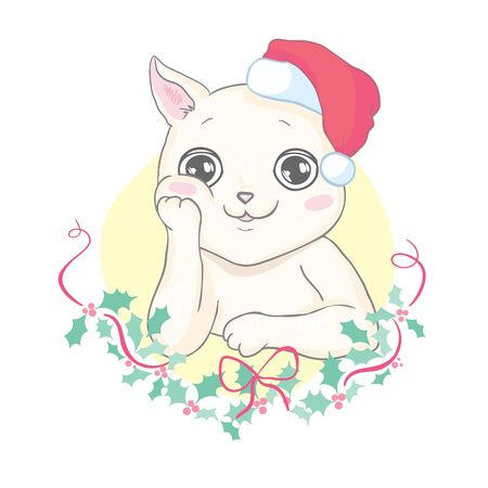 Funny cat in a Christmas hat and scarf. Vector illustration for card or poster, print on clothes. New Years and Christmas.