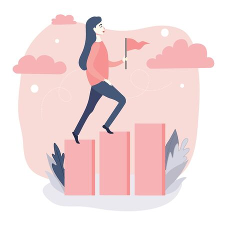 Flat illustration of a young woman holds a flag in her hand. Girl climbs up on the stylized success ladder. Symbol of goal achieving, career growth, motivation. Vector float concept of people going to success Ilustrace
