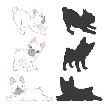 Set cute french bulldog puppy. Vector, illustration Illustration