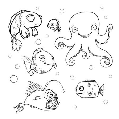 Ocean bottom. Coloring book page in doodle stile. Marine inhabitants, hand draw sketch. Ilustración de vector