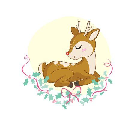 Cute Cartoon Baby Deer with flowers background