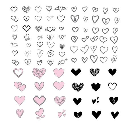 Set of unique hand drawn hearts. Set of vector hand icons. Illustration isolated on white background. Ilustrace