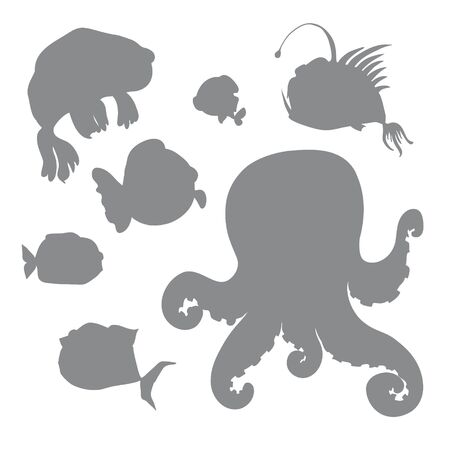 Vector set of black stylized silhouettes of marine inhabitants