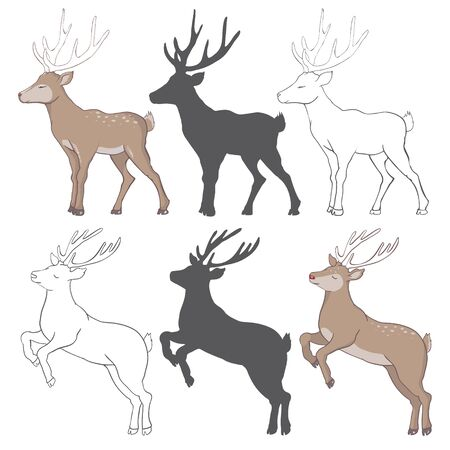 illustration with deer silhouettes ? sketch isolated on white background