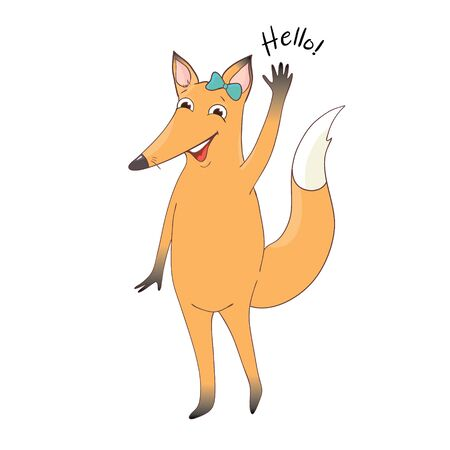 Vector illustration of cute fox and text Hello. Childish background with smiling cartoon character.