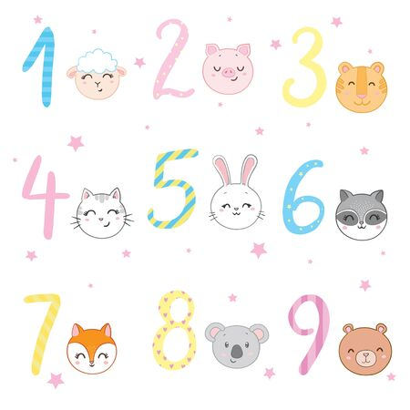 Funky Animals Standing Next To Digits Sticker Set. Stylized Colorful Flat Vector Illustrations For Kids On White Background, Иллюстрация