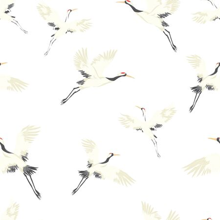 Seamless background, with Oriental motifs, cranes are flying, pattern vector illustration bird flower. Vector illustration. Vektorgrafik
