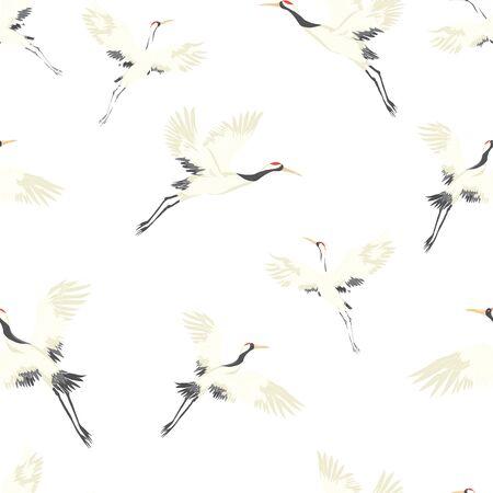 Seamless background, with Oriental motifs, cranes are flying, pattern vector illustration bird flower. Vector illustration. Векторная Иллюстрация