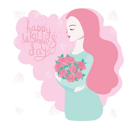 March 8 international women's day with woman's face Vector illustration