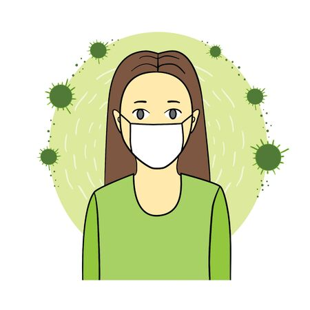 Girl wearing a health mask. sanitation mask protect health .Protective dust mask. Vettoriali