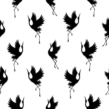 Japanese pattern. Seamless vector ornament with traditional motives. Japanese pattern with storks