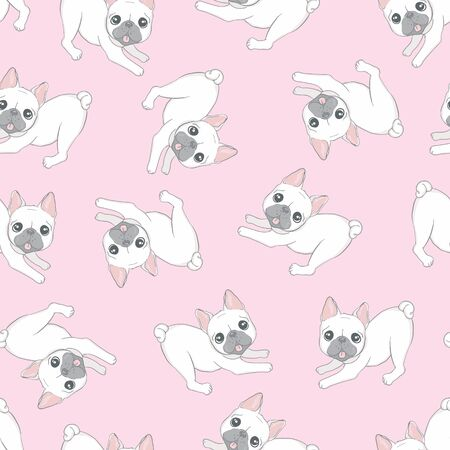 Seamless pattern with cute dogs. Background for fabric, textile design, wrapping paper or wallpaper. French bulldog Vector Illustratie