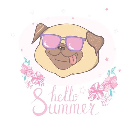 Cute cartoon pugs wearing glasses. Vector dog illustration on white background