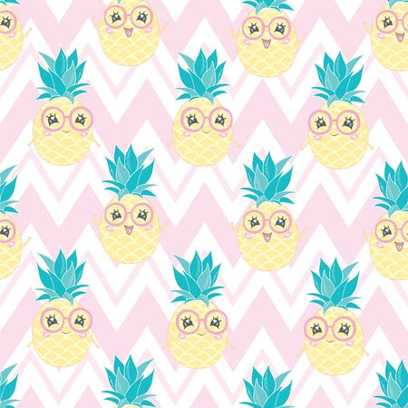 seamless pineapple, vector, illustration, pattern