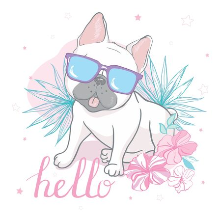 cute french bulldog with glasses, hand drawn graphic, animal illustration