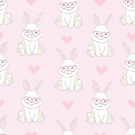 Rabbit holds a huge heart. Pattern.Pink background.For prints, book illustrations, packaging material, textiles.Vector illustration. Illusztráció