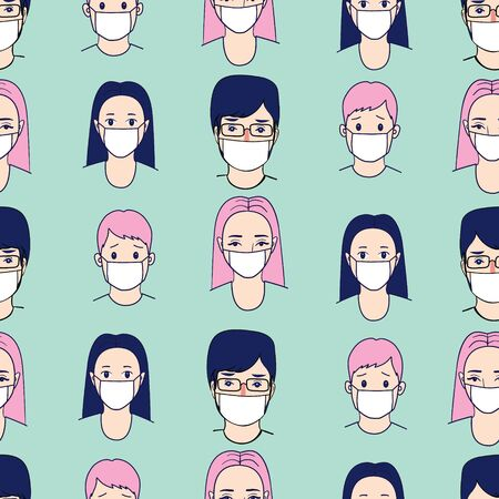 Novel coronavirus (2019-nCoV), people in white medical face mask. Concept of coronavirus quarantine vector illustration pattern.