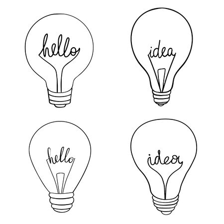Set of vector light bulb icons. Illustration isolated on white background. Illusztráció