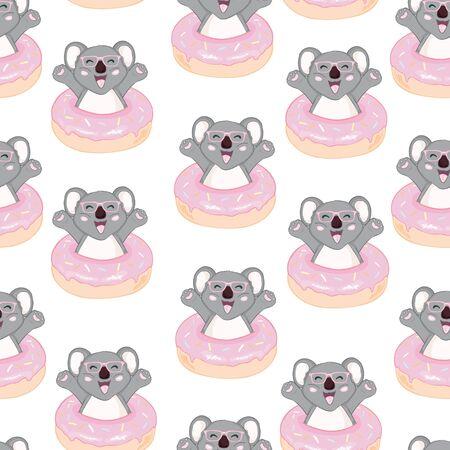 Koala bear pattern. Seamless pattern vector.  イラスト・ベクター素材