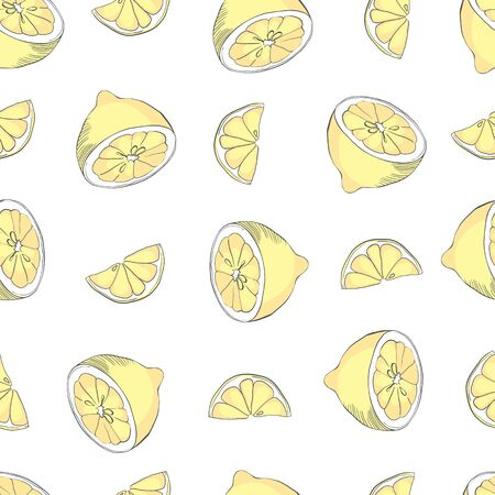 seamless pattern with lemons on the white background. Vector illustration. Hand drawn background. Illusztráció