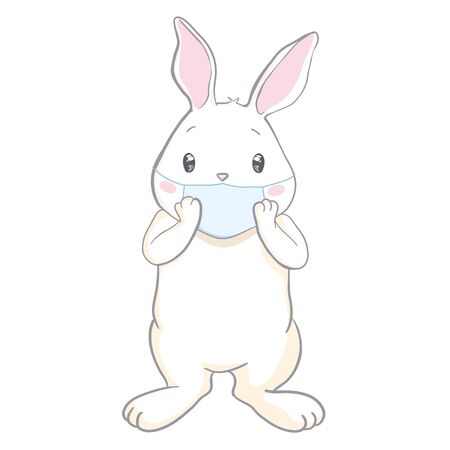Easter bunny with protective mask vector. Funny coronavirus easter 2020 greeting card Illustration