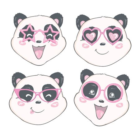 panda in glasses. black and white bear. vector. illustration. panda cartoon. Illustration