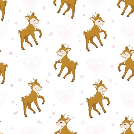 Cute deer with hearts vector seamless pattern. Children's themed Wallpapers Illustration