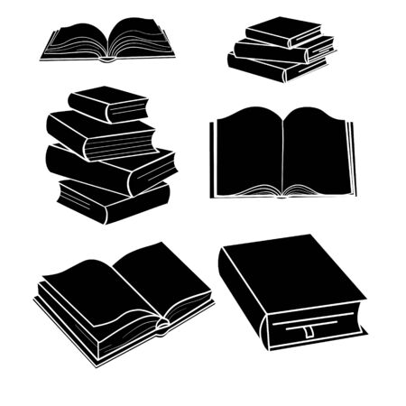 Books on the shelves simply retro vector illustration. Vintage hand drawn book objects for banner,   or website design elements