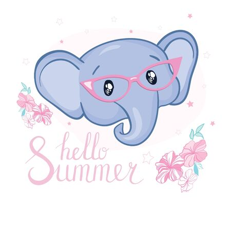 Hand drawn vector illustration of a cute baby elephant in big glasses. Illustration