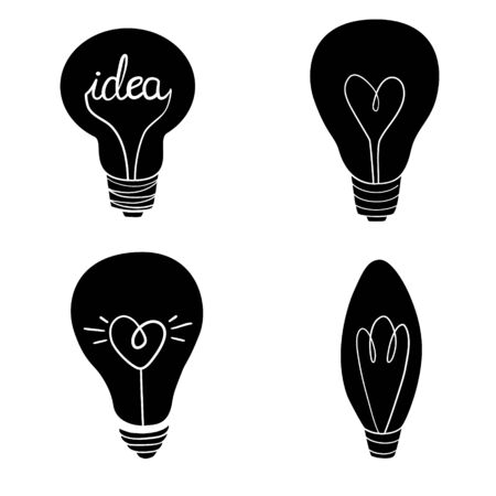 Set of vector light bulb icons. Illustration isolated on white background. Illustration