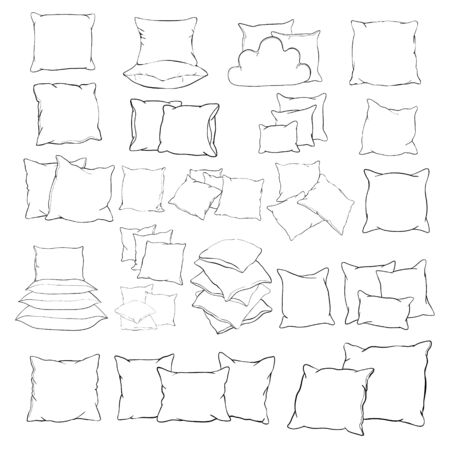 vector illustration of pillow, art, isolated, white, bed Illusztráció