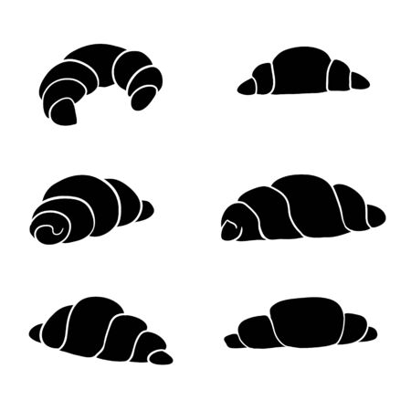 Croissant glyph icon. Crescent roll. Silhouette symbol. Negative space. Vector illustration