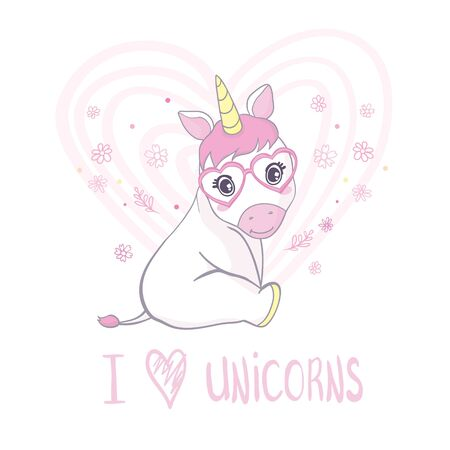 Vector illustration of cute unicorns.