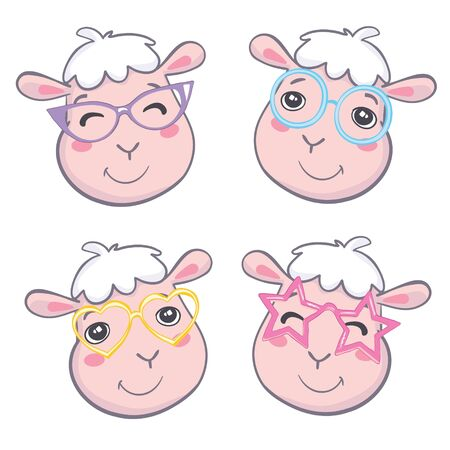 Cute sheep face. Flat icon. Vector illustration Illustration