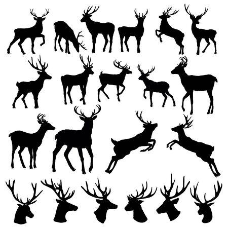 Set einer Hirsch-Silhouette auf weißem Hintergrund