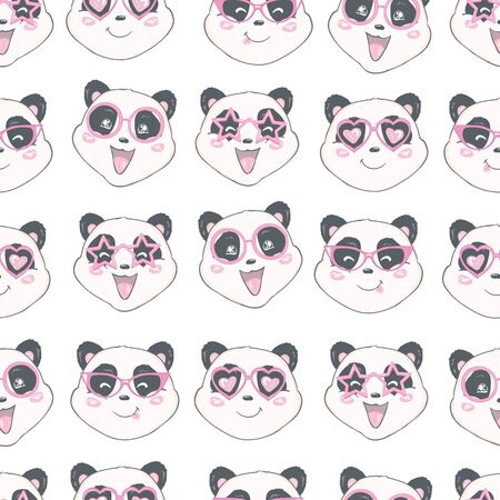 Seamless pattern with cute hand drawn panda' heads. Animal tiling background. Illustration