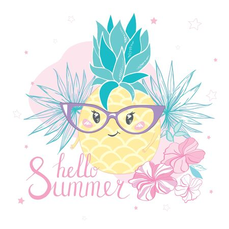 Cute vector pineapple illustration. Cartoon funny graphic food. Typography quote Illustration