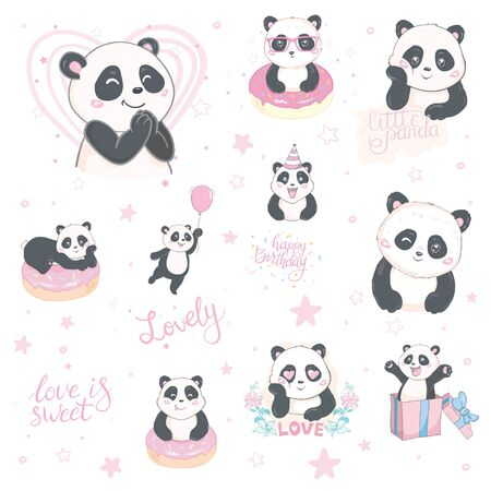 Panda set illustration, cute hand drawn cards, brochures, invitations Illustration
