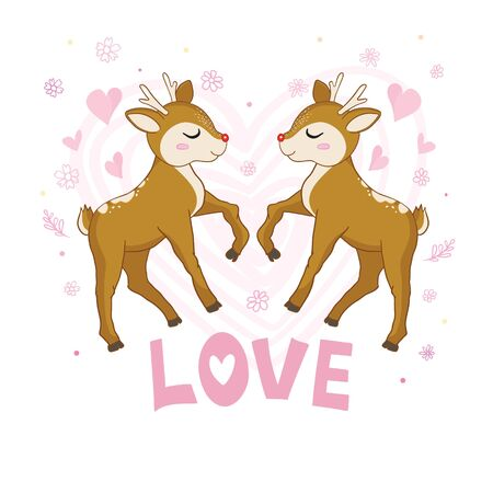 Vector illustration of a cute deer with a heart .