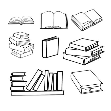 sketches of books. Vector illustration.