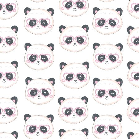 Seamless pattern with cute hand drawn panda' heads. Animal tiling background. Illusztráció