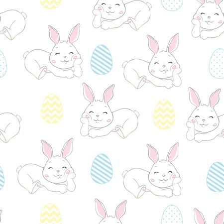 Cute Bunny Rabbit Seamless Pattern Vector Background