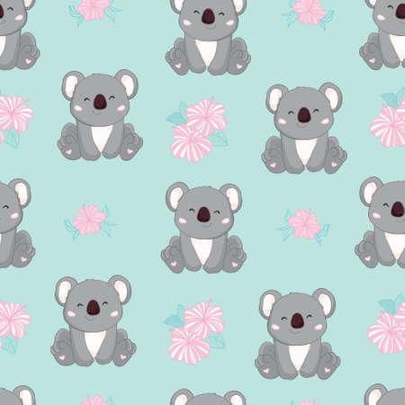 Seamless Cute Cartoon Koala Pattern Vector 版權商用圖片 - 150590564