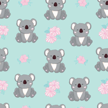Seamless Cute Cartoon Koala Pattern Vector