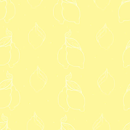 seamless pattern with lemons on the white background. Vector illustration. Hand drawn background. Ilustração