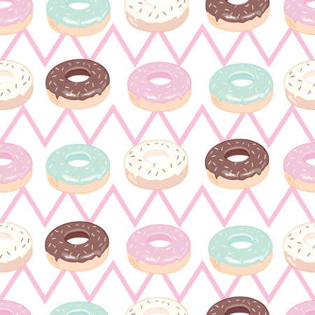 Donuts with pink icing. Seamless white pattern. Background for cafes, restaurants, coffee shops, catering. Design texture for menu, booklet, banner, website. Vector illustration.