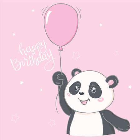 Happy birthray cute panda, sticker. Stock Vector - 150590559