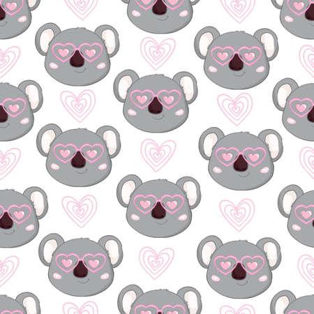Seamless Cute Cartoon Koala Pattern Vector Stock Vector - 150590563
