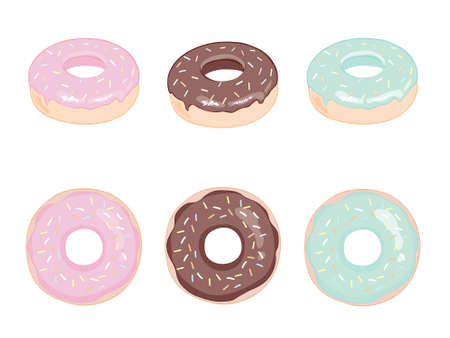 Donut vector set on a white background. Donuts set with mint, creamy, pink and blue glaze. Donats colorful icon set. Donuts into the glaze collection.