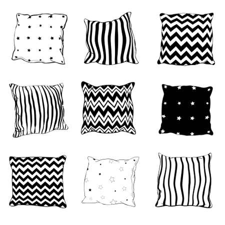 Set of black hand-drawn sketch style pillows, vector illustration isolated on white background.
